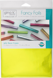 Gina K. Designs Fancy Foils -folio, sävy Jelly Bean Green, 12 arkkia