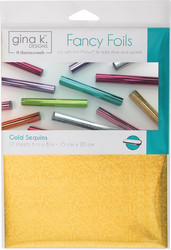 Gina K. Designs Fancy Foils -folio, sävy Gold Sequins, 12 arkkia
