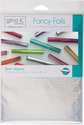 Gina K. Designs Fancy Foils -folio, sävy Silver Sequins, 12 arkkia