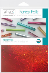 Gina K. Designs Fancy Foils -folio, sävy Radiant Red, 12 arkkia