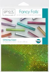 Gina K. Designs Fancy Foils -folio, sävy Glittering Green, 12 arkkia
