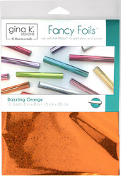 Gina K. Designs Fancy Foils -folio, sävy Dazzling Orange, 12 arkkia