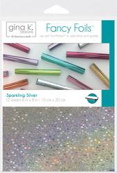 Gina K. Designs Fancy Foils -folio, sävy Sparkling Silver, 12 arkkia