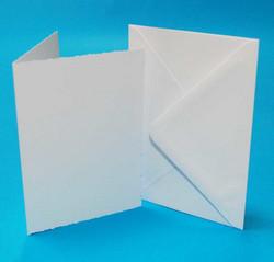 CraftUK korttipohjat ja kirjekuoret, deckle (sahalaita), valkoinen, A6, 50 kpl