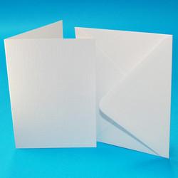 CraftUK Premium korttipohjat ja kirjekuoret, linen, valkoinen, A6, 50 kpl