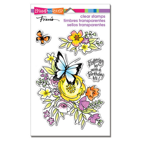 Stampendous leimasinsetti Flutters & Flowers