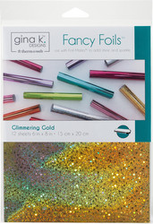 Gina K. Designs Fancy Foils -folio, sävy Glimmering Gold, 12 arkkia