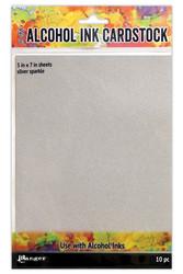 Tim Holtz Alcohol Ink Cardstock Silver Sparkle, kartonki alkoholimusteille, 5