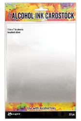 Tim Holtz Alcohol Ink Cardstock Brushed Silver, kartonki alkoholimusteille, 5