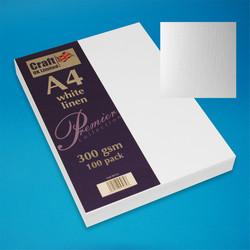 CraftUK Premium -kartonki, linen, valkoinen, 300 gsm, 100 arkkia