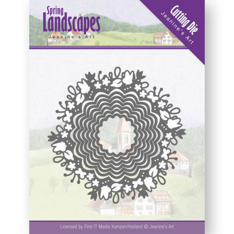 Jeanines Art Spring Landscapes stanssisetti Spring Scalloped Circle