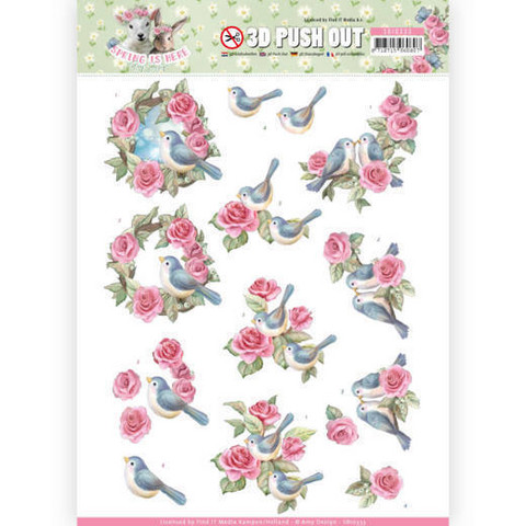 Amy Design Spring is Here 3D-kuvat Birds and Roses