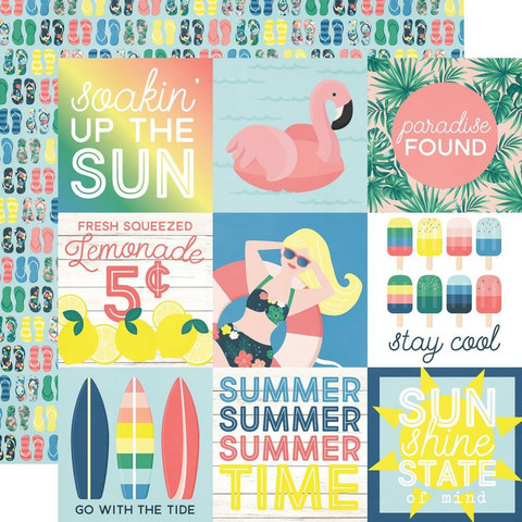 Simple Stories Sunshine & Blue Skies skräppipaperi 4x4 Elements