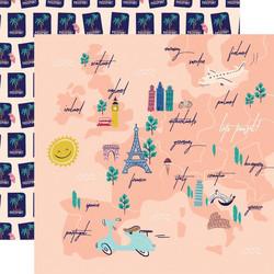 Carta Bella Let's Travel skräppipaperi Travel Map