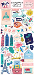 Carta Bella Let's Travel Chipboard -tarrat