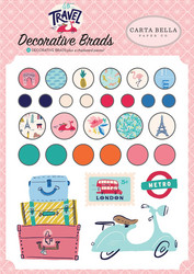 Carta Bella Let's Travel Decorative Brads -koristeet