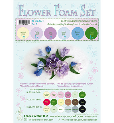 Leane Creatief Flower Foam -softislevy kukkien tekoon, setti 7 pastel blue - violet