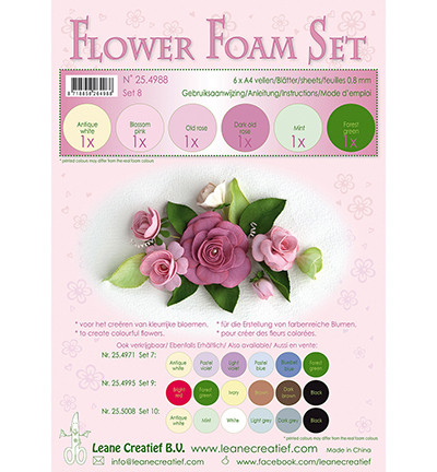 Leane Creatief Flower Foam -softislevy kukkien tekoon, setti 8 old rose