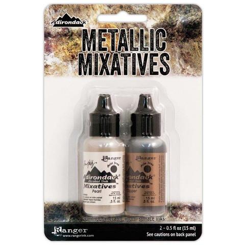 Tim Holtz Metallic Mixative alkoholimuste, sävyt Pearl ja Copper