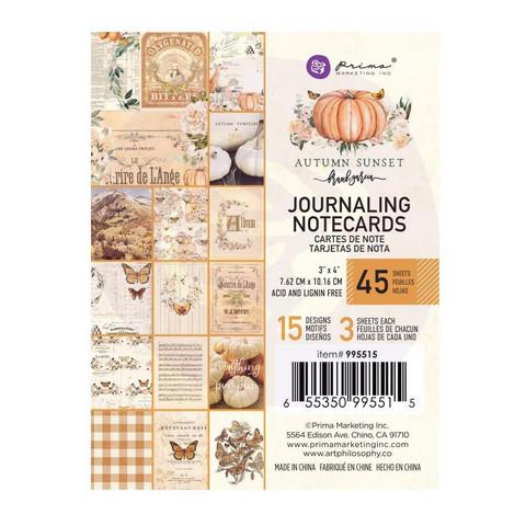 Prima Autumn Sunset Journaling Notecards,  3