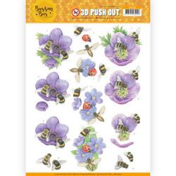 Jeanine's Art Buzzing Bees 3D-kuvat Purple Flowers