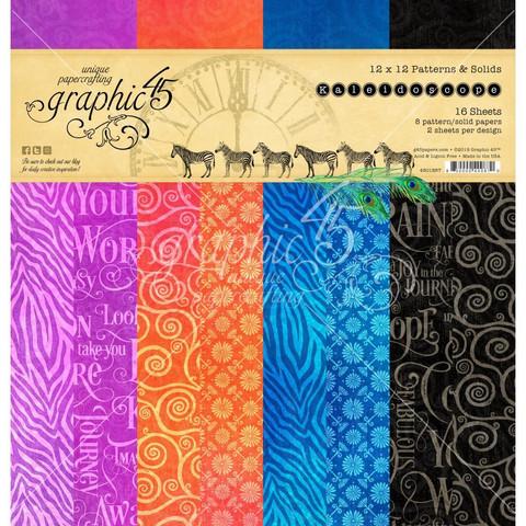 Graphic 45 -paperipakkaus Kaleidoscope, Pattern & Solids, 12
