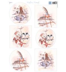 Marianne Design Winter Birds -korttikuvat