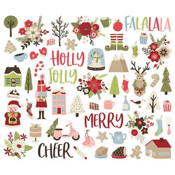 Simple Stories Holly Jolly Bits & Pieces Die-Cuts, leikekuvat, 58 kpl