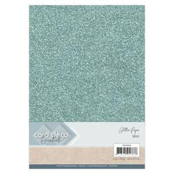 Card Deco Glitter -paperipakkaus, Mint, A4