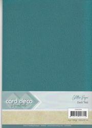 Card Deco Glitter -paperipakkaus, Dark Teal, A4