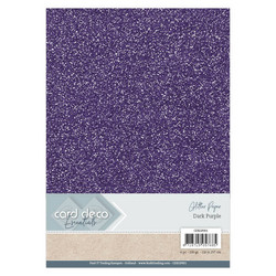 Card Deco Glitter -paperipakkaus, Dark Purple, A4