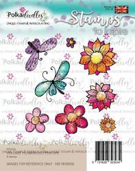 Polkadoodles Collage Flowers / Butterflies -leimasinsetti