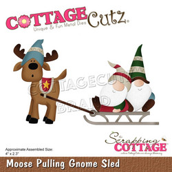 CottageCutz stanssi Moose Pulling Gnome Sled
