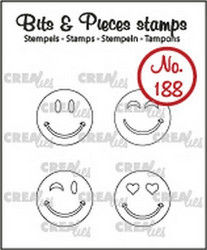 Crealies Bits & Pieces -leimasinsetti Happy Faces, outline