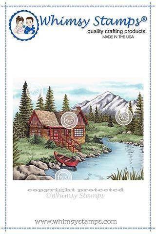 Whimsy Stamps Mountain Serenity -leimasin