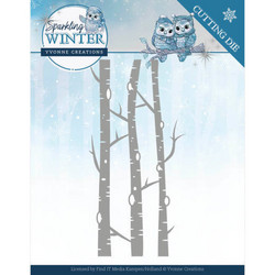 Yvonne Creations Sparkling Winter stanssi Birch Trees