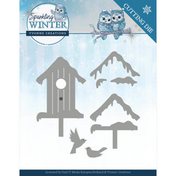 Yvonne Creations Sparkling Winter stanssisetti Winter Birdhouse