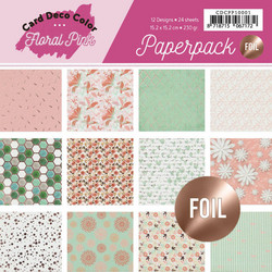 Card Deco paperipakkaus Floral Pink, with foil