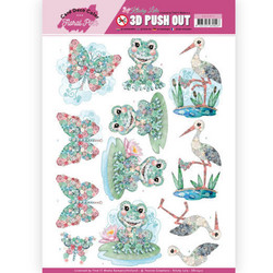 Card Deco Floral Pink 3D-kuvat Kitschy Frog
