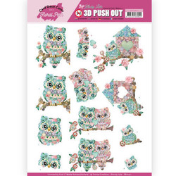 Card Deco Floral Pink 3D-kuvat Kitschy Owls