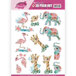 Card Deco Floral Pink 3D-kuvat Kitschy Animals