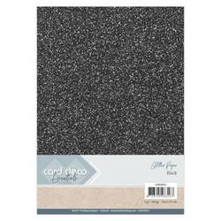 Card Deco Glitter -paperipakkaus, Black, A4