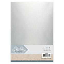 Card Deco Metallic Linen -kartonki, sävy Silver, A4, 6 kpl