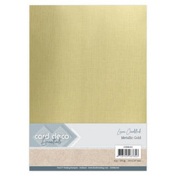Card Deco Metallic Linen -kartonki, sävy Gold, A4, 6 kpl