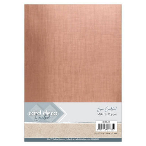 Card Deco Metallic Linen -kartonki, sävy Copper, A4, 6 kpl