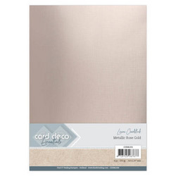 Card Deco Metallic Linen -kartonki, sävy Rose Gold, A4, 6 kpl
