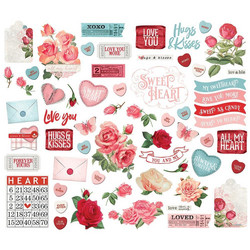 Simple Stories My Valentine Bits & Pieces Die-Cuts, leikekuvat, 60 kpl