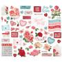 Simple Stories My Valentine Bits & Pieces Die-Cuts, leikekuvat, 60 kpl