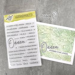 Leimasinsetti Onnentoivotuksia + stanssi (korttipaja.fi)