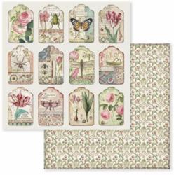 Stamperia skräppipaperi Spring Botanic Tags